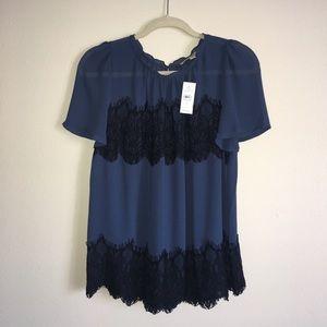 Loft Blue with Black Lace Blouse